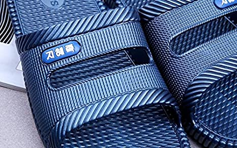 W&XY Pantofole bagno interno bagno antiscivolo morbido sandali una parola fredda, 44, navy blu