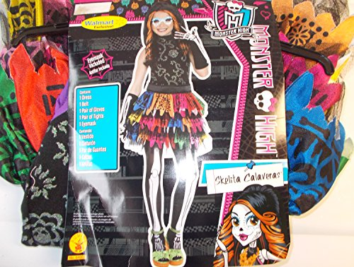 Monster High Skelita Calaveras Child Costume Mask 8-10 NIP -