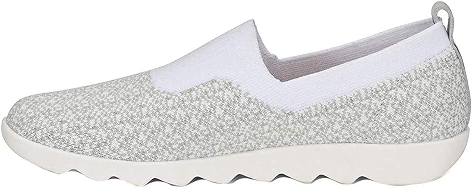 Size 10.0 White//Mist Grey Comfortiva Womens Ginger Fabric Low Top Slip On