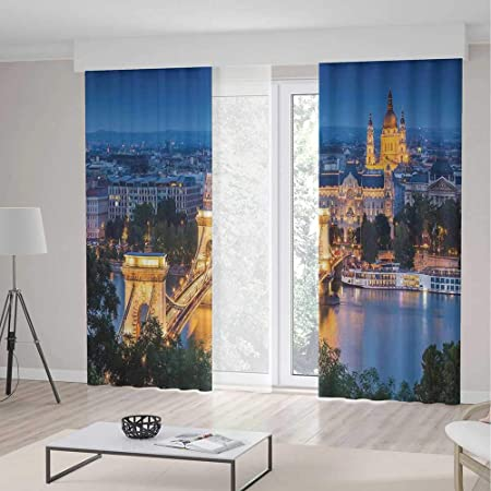 IPrint Cityscape Blackout CurtainsHistorical Old Bridge In Budapest Traditional European Culture Urban City