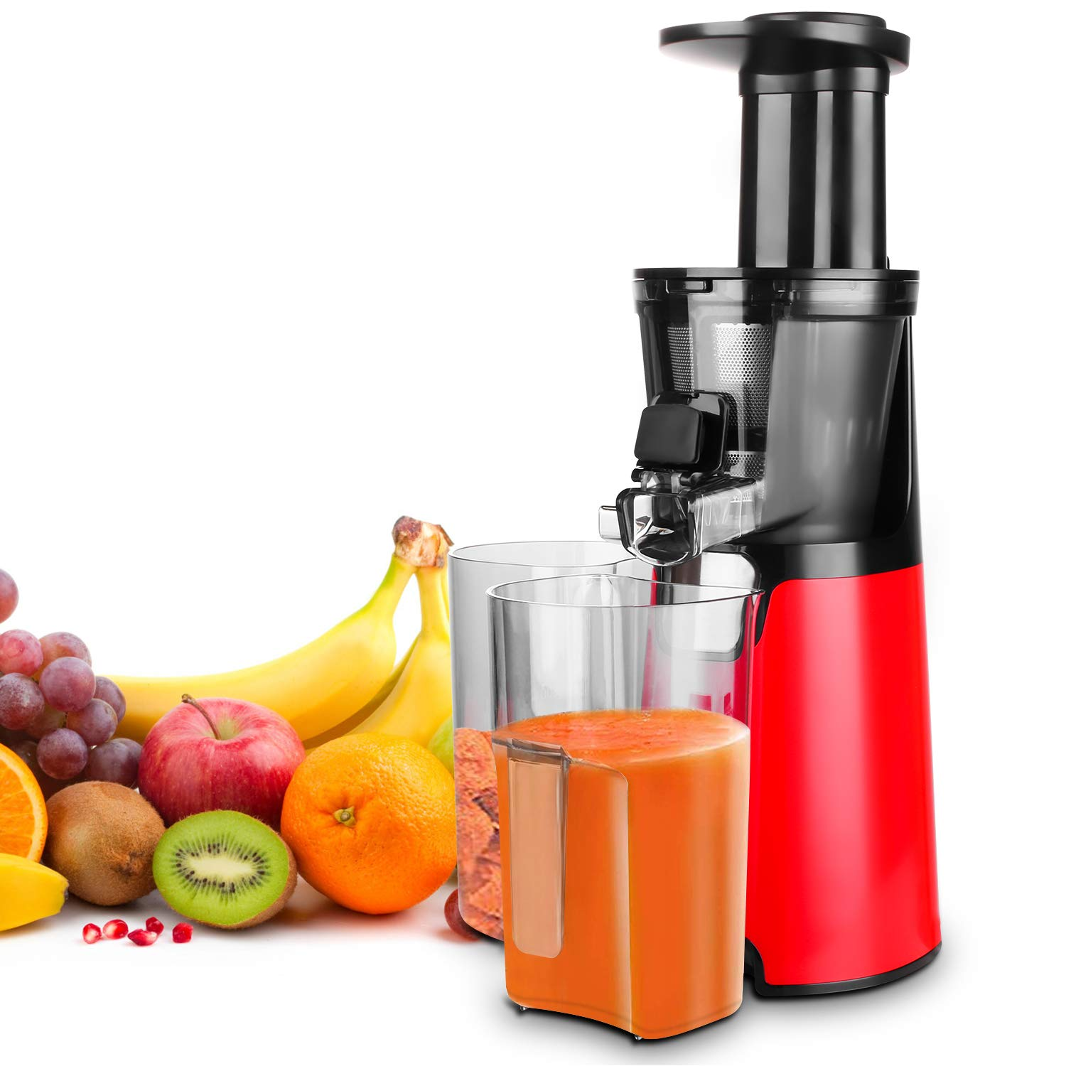 HomevoltsSlow Juicer Red Compact Masticating Juicer with Cold Press and Quite Motor for Fruit by Homevolts