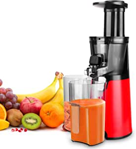 HomevoltsSlow Juicer Red Compact Masticating Juicer with Cold Press and Quite Motor for Fruit