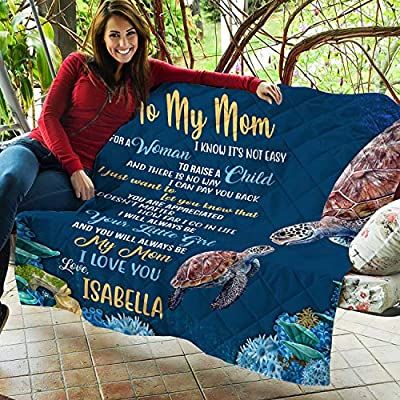 VTH Global Personalized Custom Kids Daughter Son Name to My Mom Not Easy to Raise A Child Mothers Day Sea Turtle Fleece Throw Quilt Blanket Twin Queen Size Tapestry Wall Hanging: Home & Kitchen