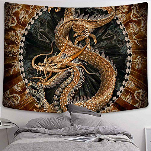 DBLLF Dragon Wall Hanging Tapestry Bohemian Tapestry Psychedelic Gold Dragon Wall Blanket Chinese Golden Dragon and Cloud Mural for Bedroom Living Room Dorm 80X60 Inches DBLS177-GM