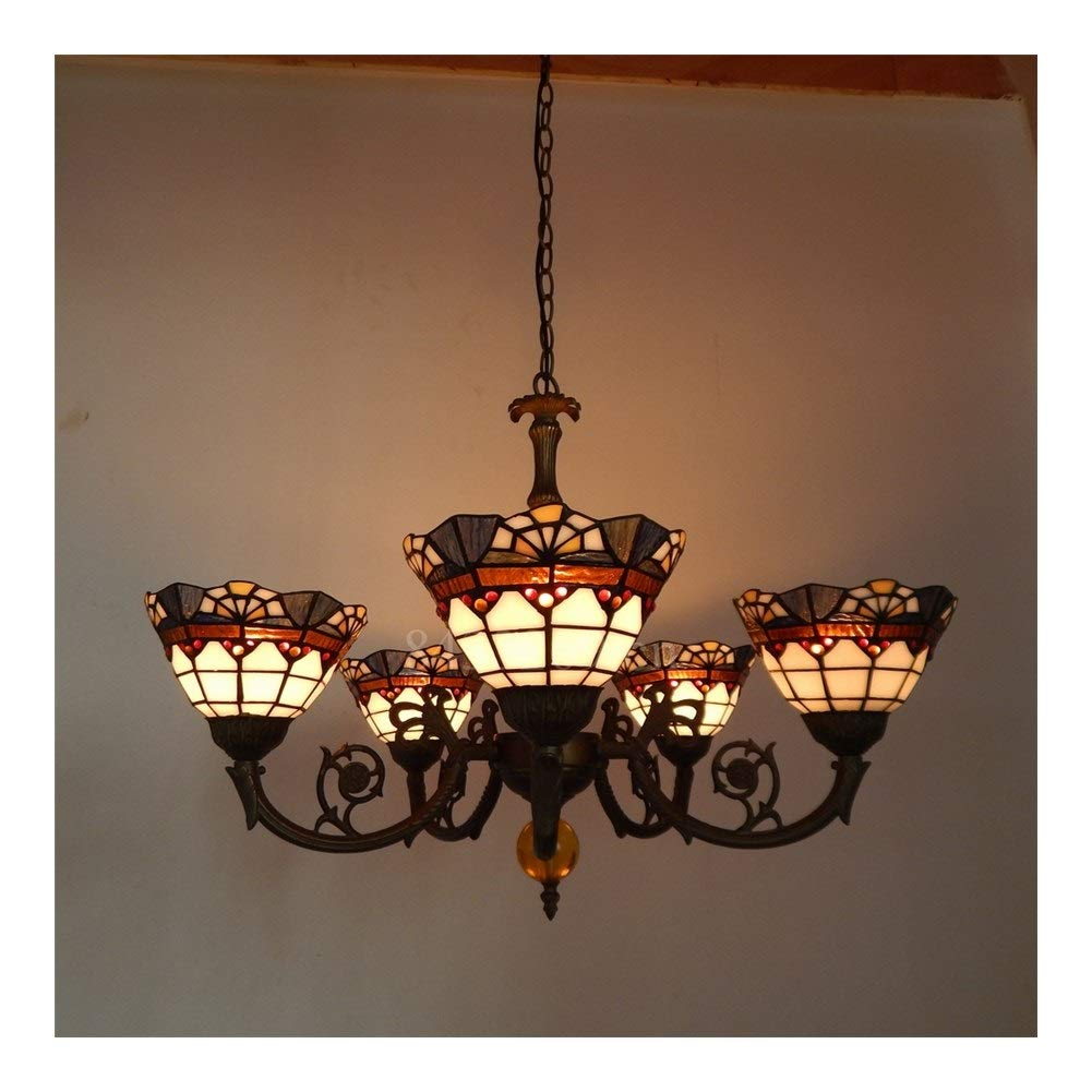 Soft Lighting 5 Shades Pendant Chandelier, European Style Stained Glass Drop-Light for Home Decoration Handmade