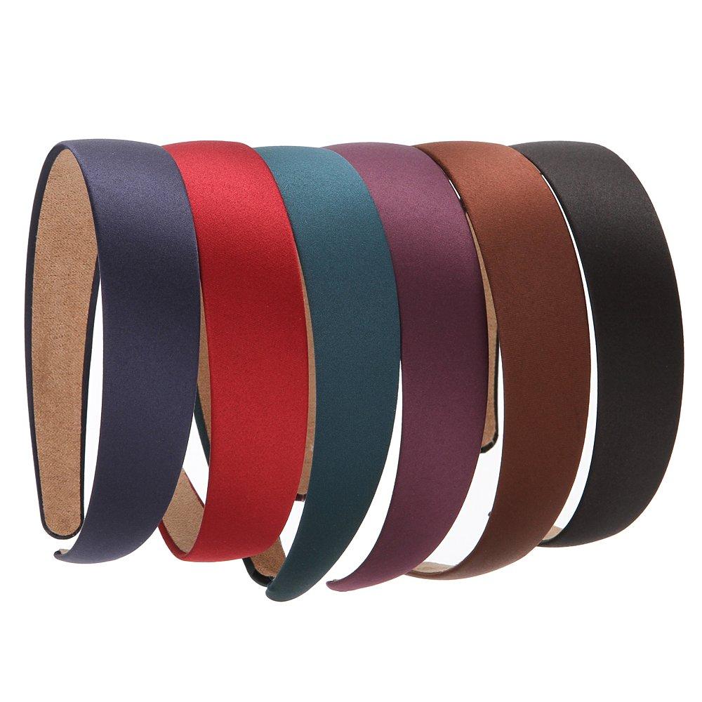 LONEEDY 6 Hard Headbands, 1 Inch Wide Non-slip Ribbon Hairband for Women (6 PCS Deep Color)