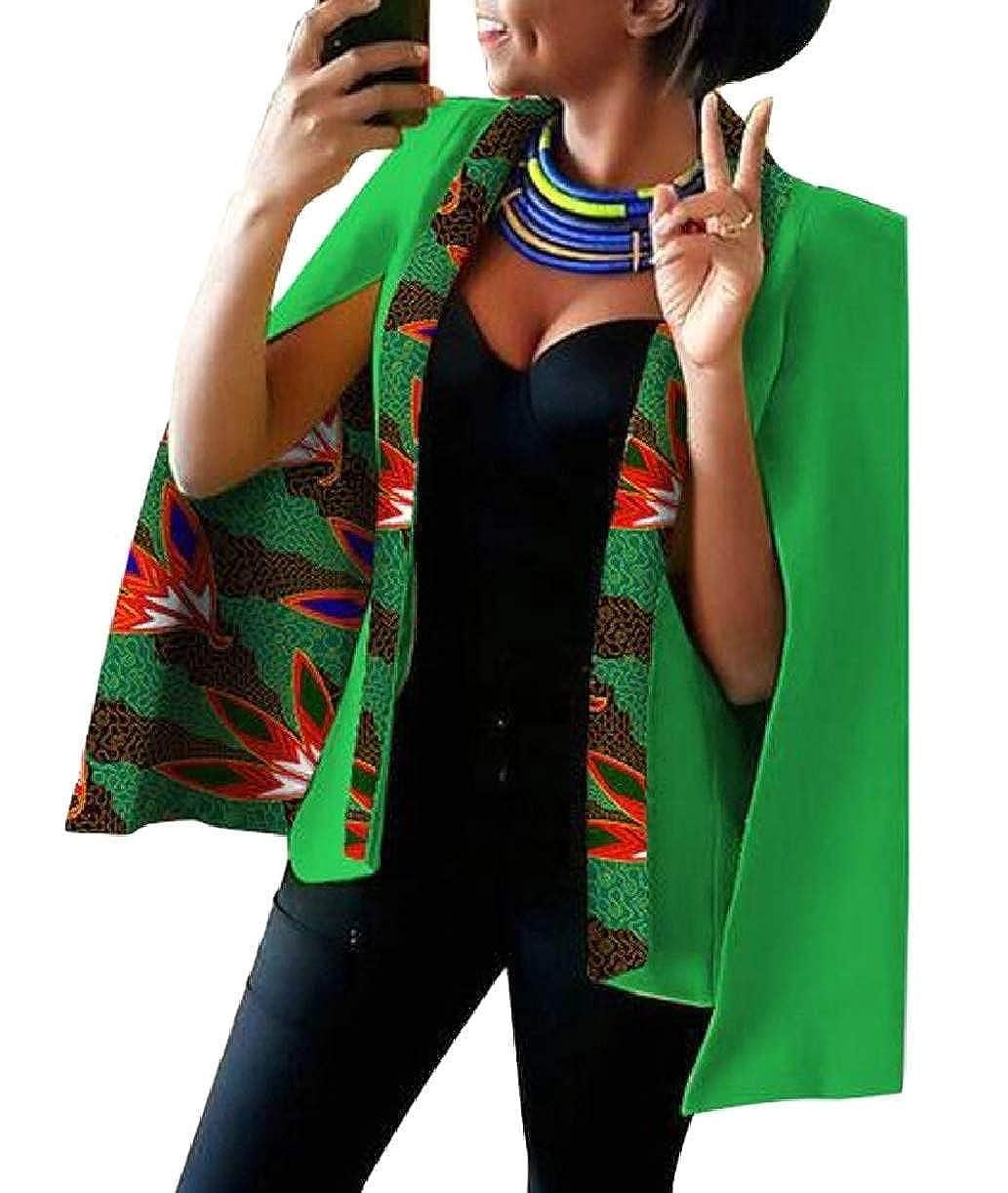 14 KLJR Women Cape Dashiki Split Open Front Plus Size African Printed Blazer