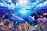 Ceramic Tile Mural - Day of The Dolphins- by Christian Riese Lassen - Kitchen backsplash/Bathroom Shower