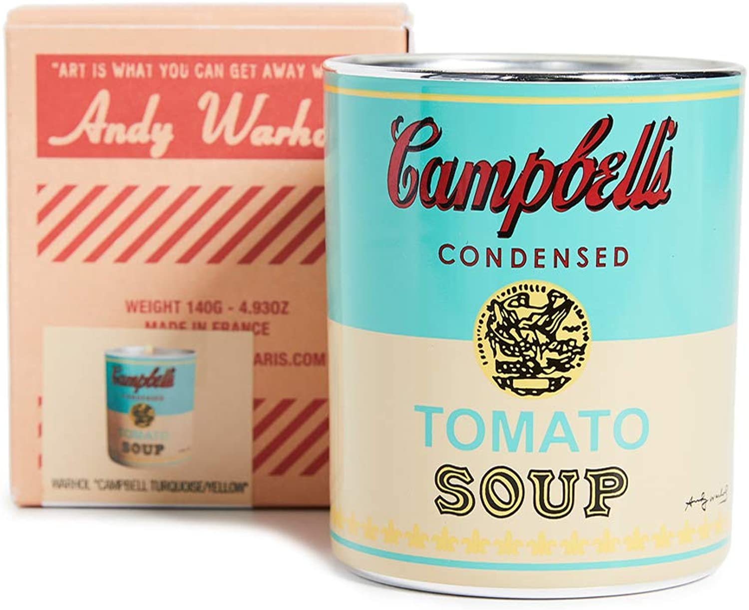 Andy Warhol Scented Campbell's Soup Can Candle — Turquoise / Yellow (Pop Wood Scent)
