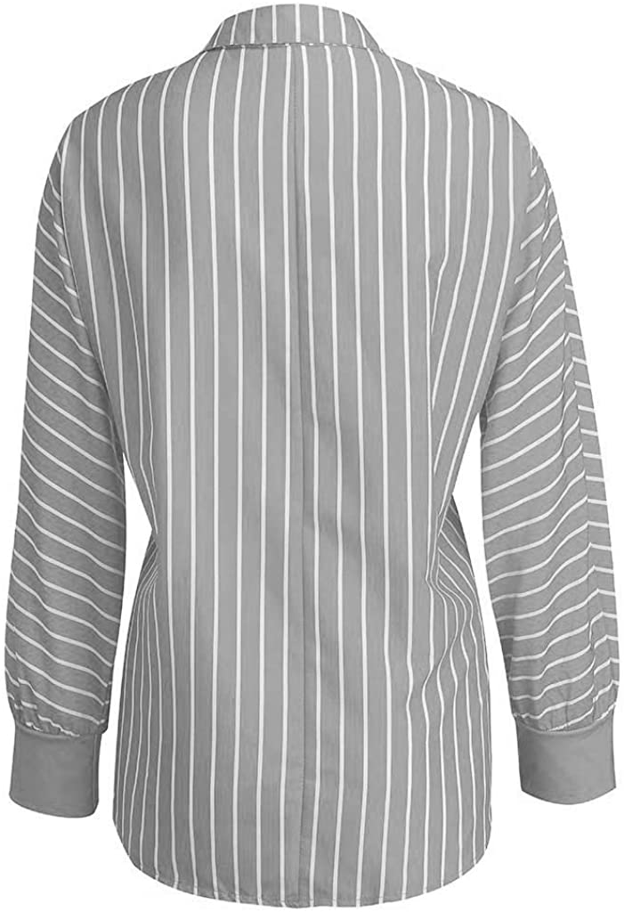 Miuye yuren-Clothing Button Tops For Women Stripe Tunic Blouse Tshirts Lapel Tees Camis Tunic Tops