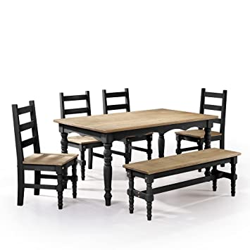 Admirable Manhattan Comfort Jay Collection Traditional Pine Wood 6 Piece Dining Set With Trim Design With 1 Bench 4 Chairs 1 Table Natural Wood Black Squirreltailoven Fun Painted Chair Ideas Images Squirreltailovenorg