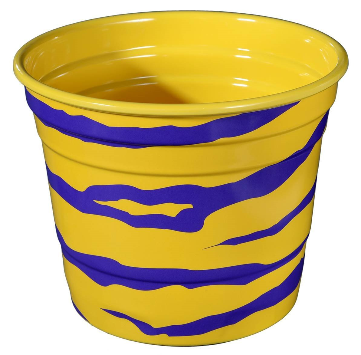 Havercamp Party Ice Bucket, LSU Purple and Yellow Tiger Stripe, Melamine, Houndstooth Party Collection