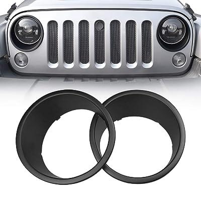 Allinoneparts Front Headlight Black Trim Cover Bezels Pair Jeep Wrangler Rubicon Sahara Sport JK Unlimited Accessories 2 Door 4 Door 2007-2020: Automotive [5Bkhe0915800]