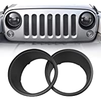 Allinoneparts Front Headlight Black Trim Cover Bezels Pair Jeep Wrangler Rubicon Sahara Sport JK Unlimited Accessories 2…