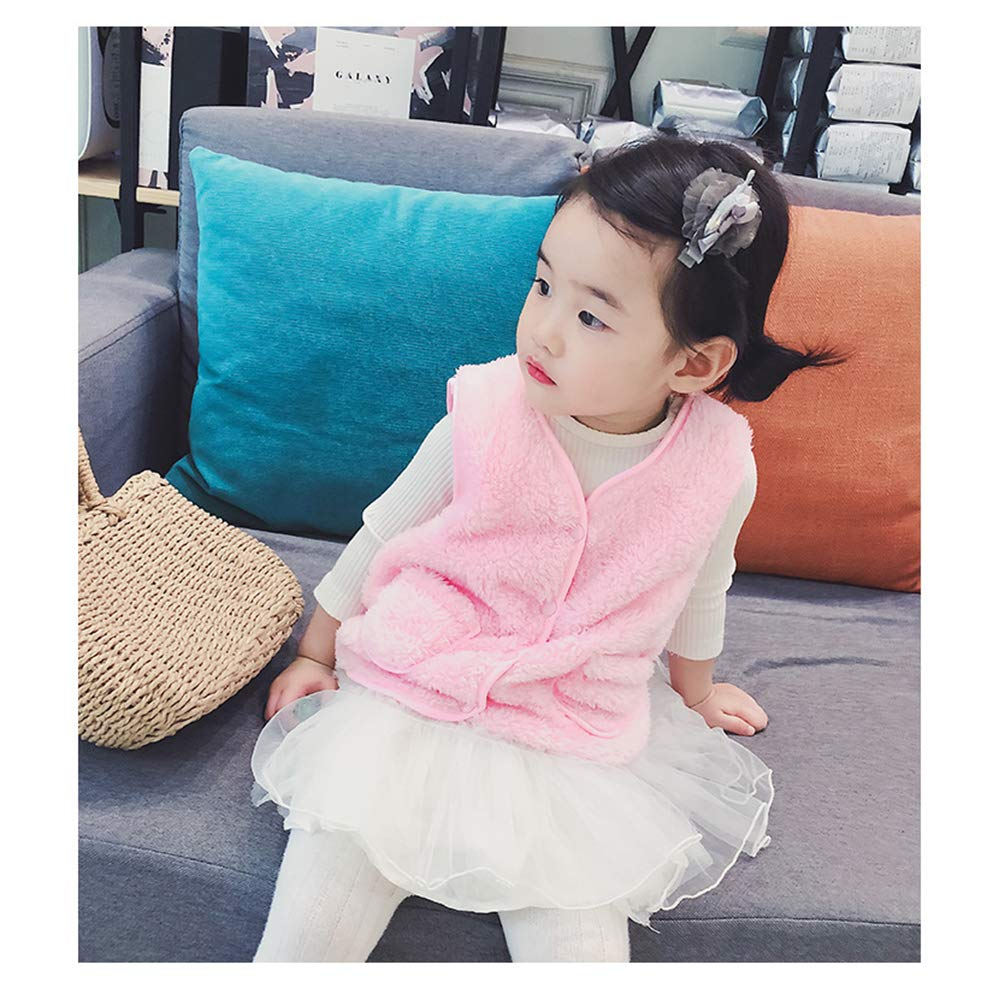 BOZEVON Toddler Kids Baby Girl Faux Fur Gilet Winter Warm Sleeveless Jacket Winter Waistcoat Vest Coat Outwear for 1-3 Years