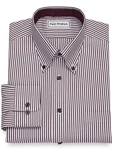 Paul Fredrick Men's Non-Iron Cotton Bengal Stripe Button Cuff Dress Shirt Plum 16.0/33