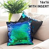 16x16 Mermaid Pillow with Insert Sparkling Mermaid with...