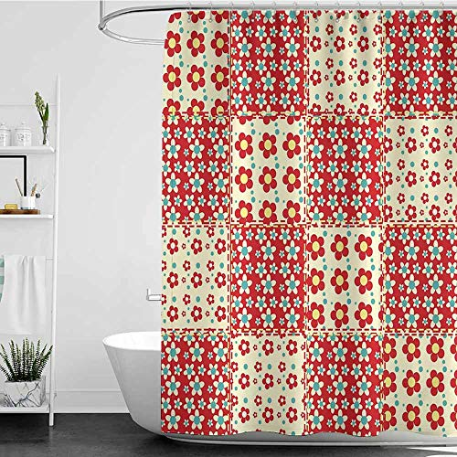 Tim1Beve Custom Shower Curtain,Cabin Decor Traditional Quilt Pattern with Spring Garden Flowers Daisies,Shower Curtains in Bath,W72x72L Light Yellow Turquoise Red
