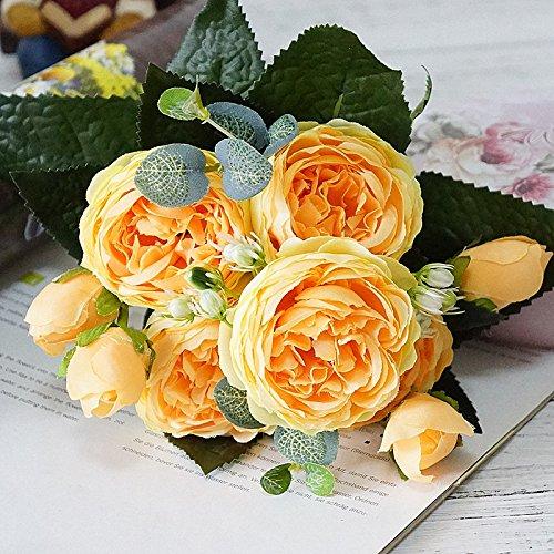 Mini美しいローズ牡丹人工シルク花SmallウェディングホームパーティーFloresスプリングブーケ装飾結婚フェイク花 イエロー B07G666GFY イエロー
