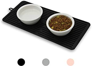 Ptlom Pet Placemat for Dog and Cat, Mat for Prevent Food and Water Overflow, Suitable for Medium and Small Pet, Black, Silicone