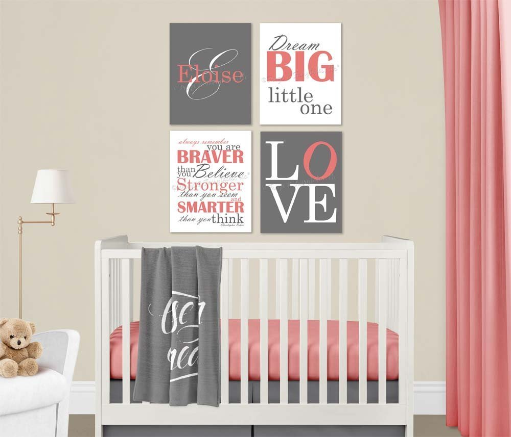 Baby Girl Nursery Coral Grey Canvas Wall Art Love Dream Big Name Christopher Robin Quote