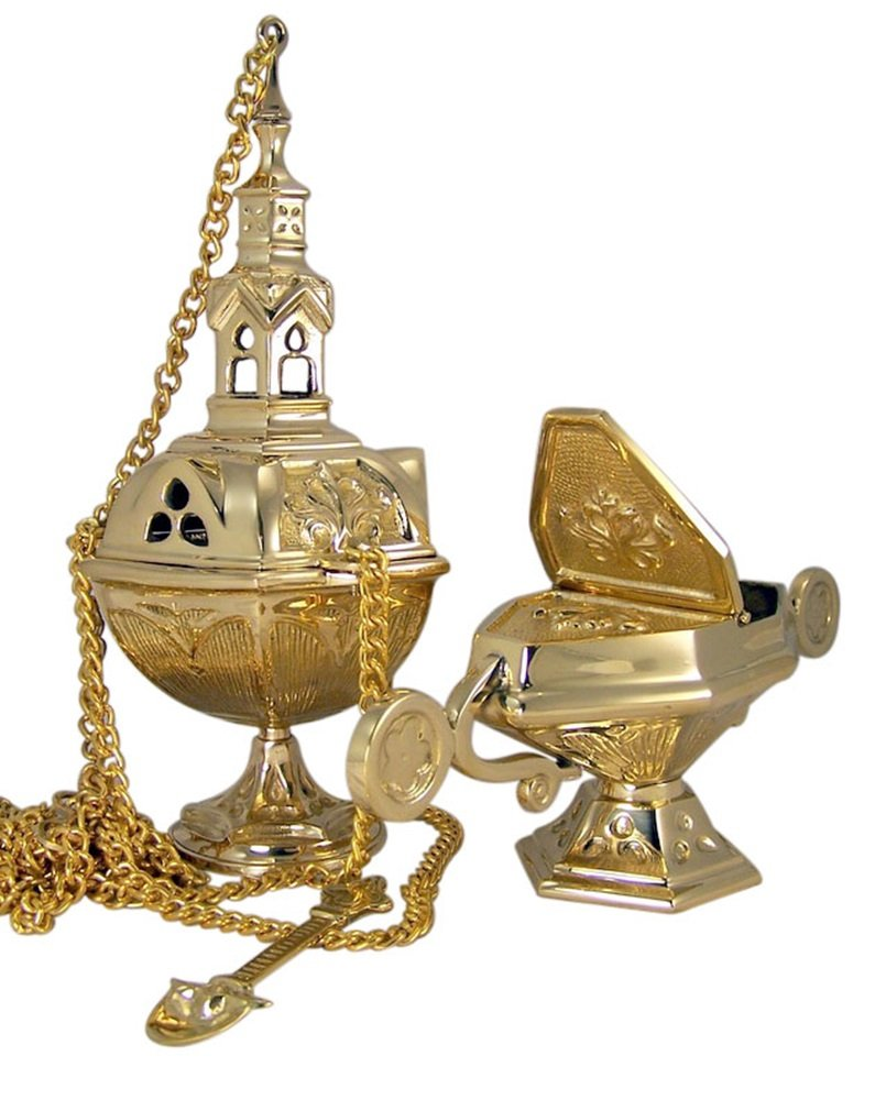 Charcoal Incense Burner Polished Brass Hanging Censer with Matching Boat and Spoon