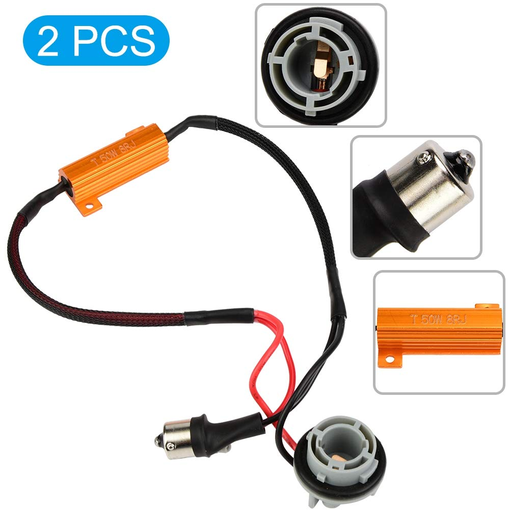 Qii lu 2pcs 1156//7506 Luz de se/ñal de giro LED Arn/és de cableado P21W Conector de resistencia de carga