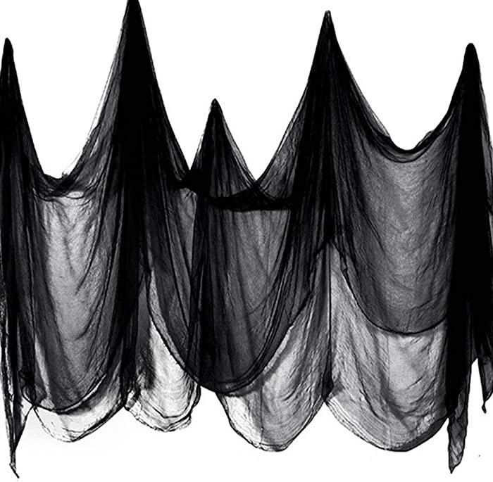 Halloween Clearance Decoration Hanging Creepy Cloth - (23 x 8 ft, Extra Large, Black) Scary Haunted Horror Ghost Spooky Halloween Cloth Fabric, Halloween Indoor Outdoor Party Lawn Garden