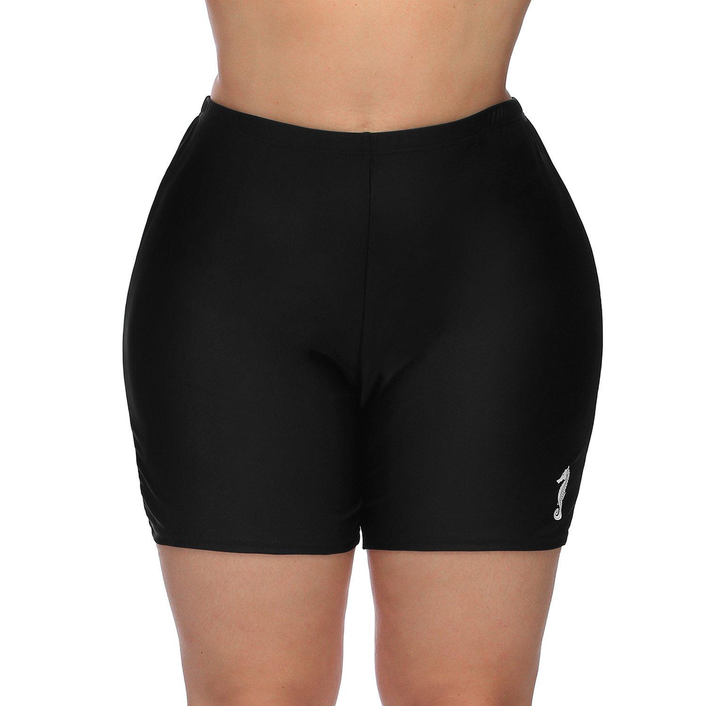 Vegatos Womens Black Plus Size Board Short Sports Swimsuit Tankini Bottoms Boardshorts by Vegatos (Image #2)