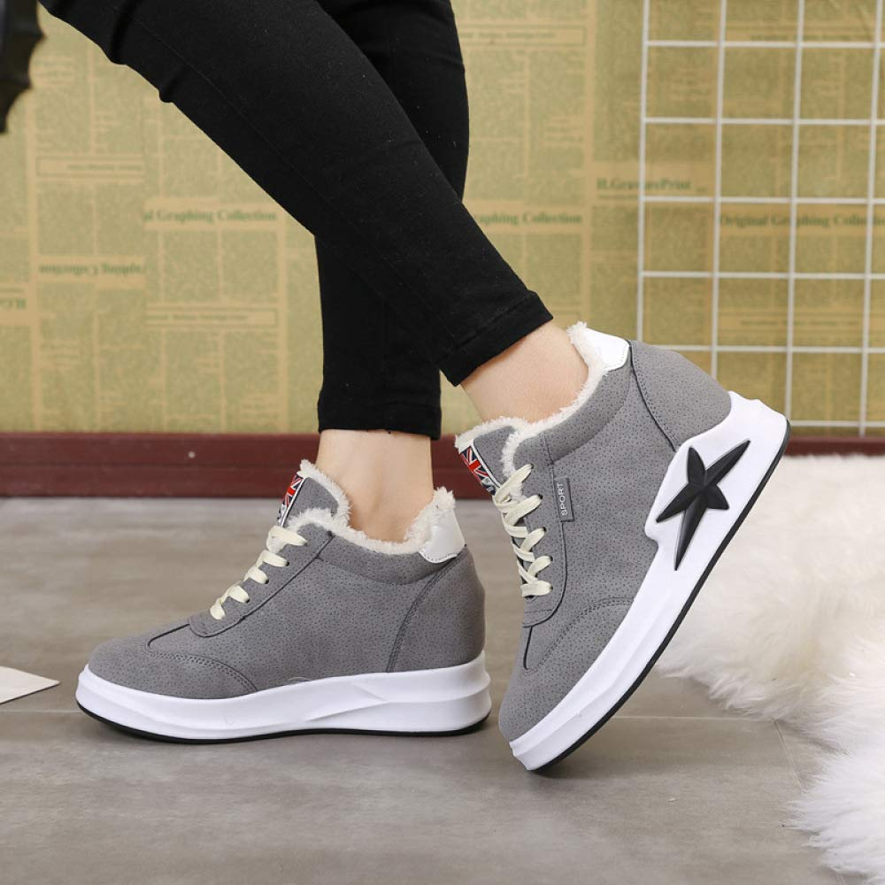 Grey 35 Grey 35 Boots Warm Women's shoes, Winter Thick-Soled Casual Plus Velvet, Wild Wedges, Sponge Cake Sports shoes