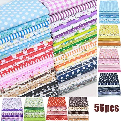 56PCS 24.5 × 25cm Printed Floral Assorted Cotton Craft Fabric Bundle Quilting Squares Patchwork for DIY Sewing Stitching 9.6x9.8 Different Patterns