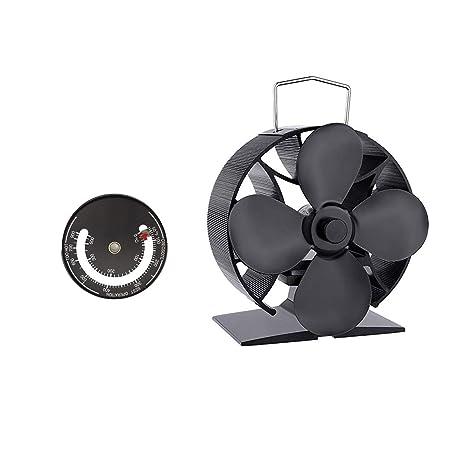 Shouyi - Ventilador de Estufa (4 aspas, Funcionamiento silencioso, con termómetro de Estufa