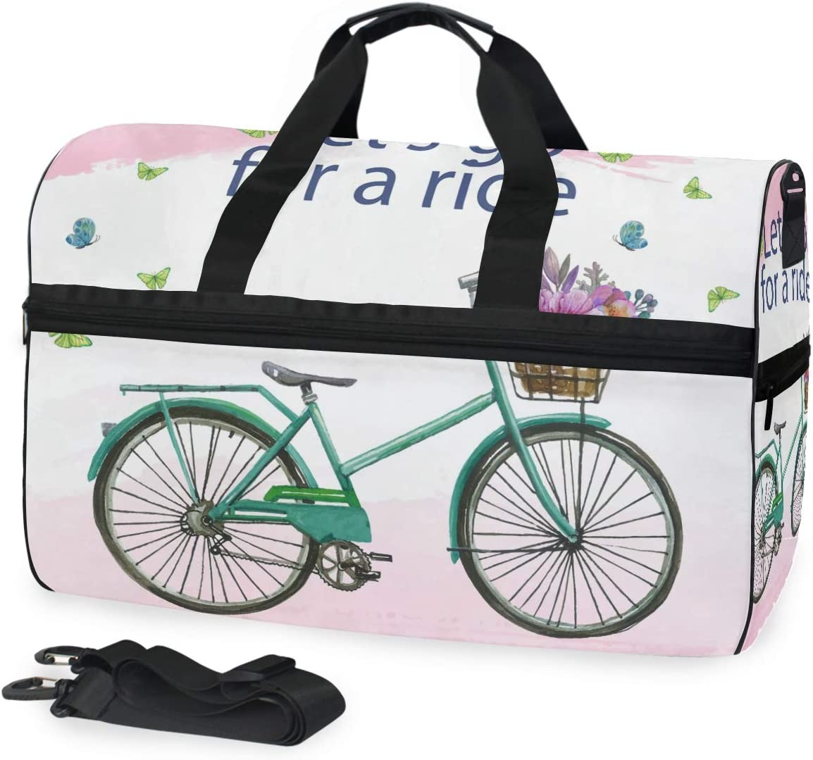 Watercolor Background With Bike Flowers Sports Gym Bag with Shoes Compartment Travel Duffel Bag for Men Women