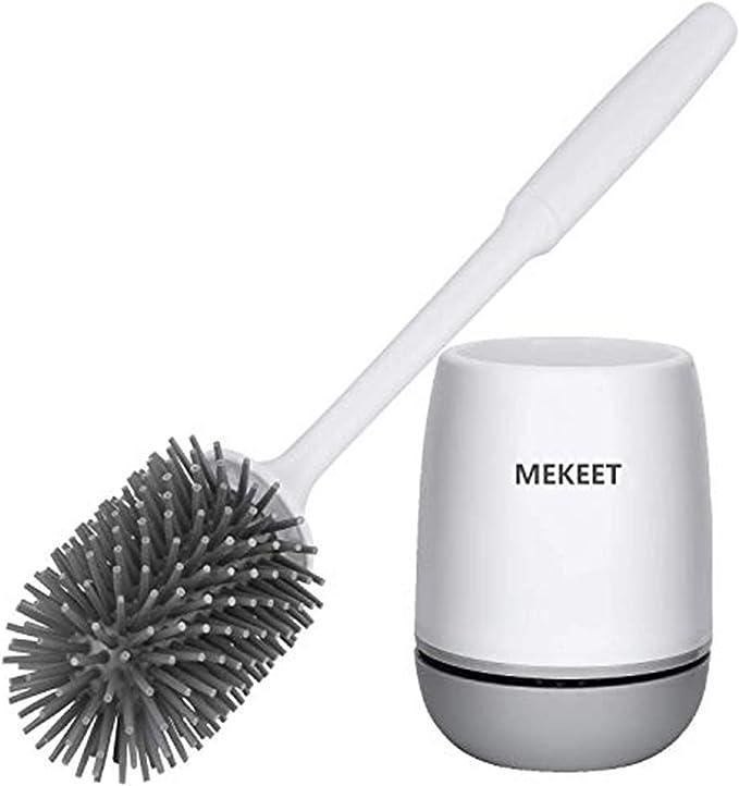 Silicone Toilet Brush Soft Bristle Wall Mounted Bathroom Holder Brush Set Q8S7