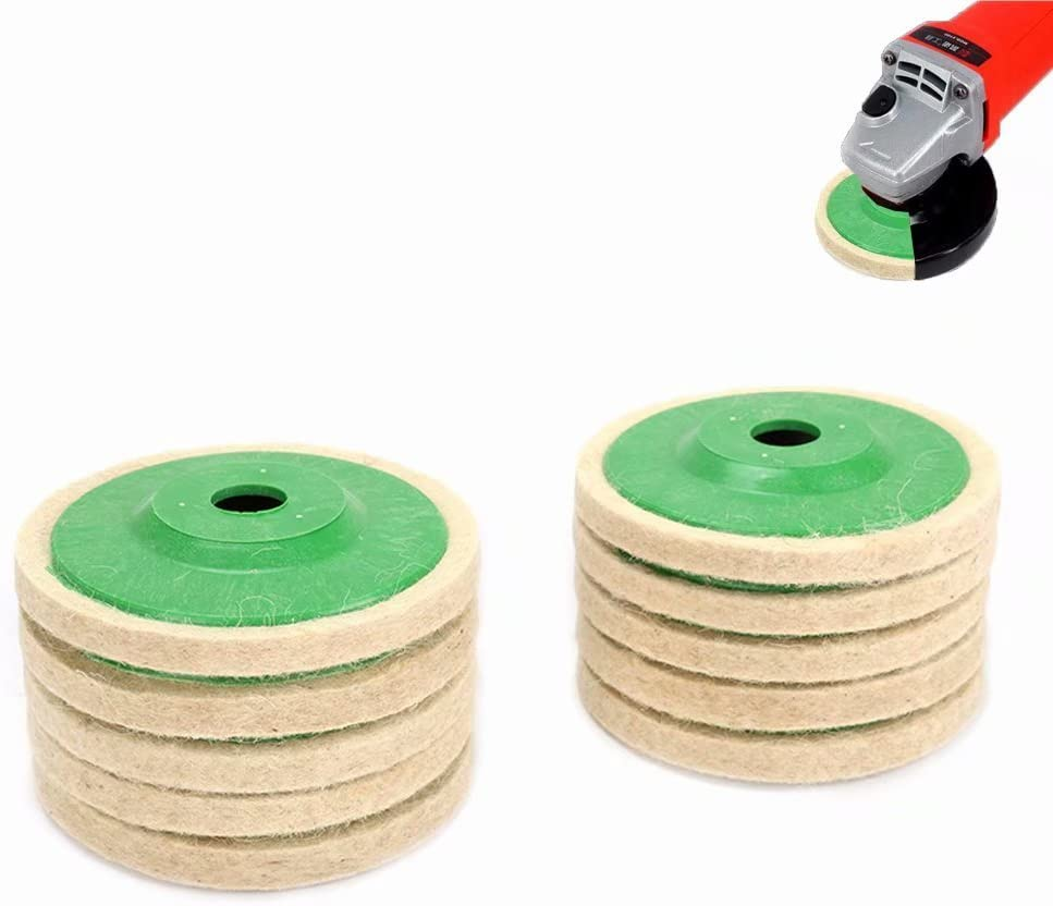 10Pcs 4 Inch White Wool Felt Polishing Pads Disc Buffing Wheel For Angle Grinder