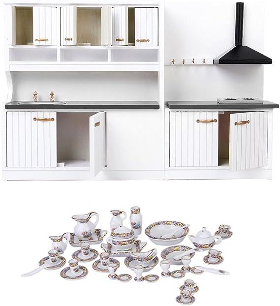 Amazon.es: CUTICATE Dollhouse Miniature 40 PCS Juego De Vajilla Y Muebles De Cocina De Porcelana: Juguetes y juegos