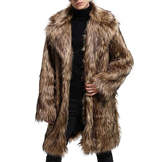 1dc4c366871 Amazon.com  Inverlee Mens Winter Warm Thick Coat Overout Jacket Faux Fur  Parka Outwear Cardigan  Clothing