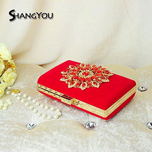 inclinado cena girasoles en FYios black Dama bolso bolsos mujer bolsos Gules de Diamond de de envuelta de honor bolsos w8qU8PXa