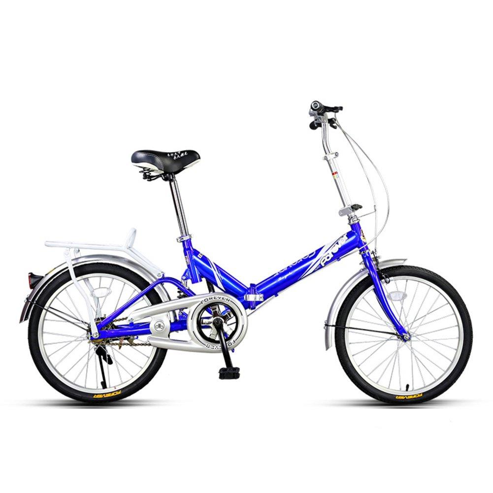 学生折りたたみ自転車, 折りたたみ自転車 軽量 ポータブル 男女 ミニ 大人 折りたたみ自転車 B07D37JD3R青 20inch