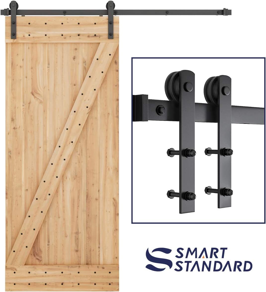SMARTSTANDARD 6ft Heavy Duty Sturdy Sliding Barn Door Hardware Kit -Smoothly and Quietly -Easy to Install -Includes Step-by-Step Installation Instruction Fit 36