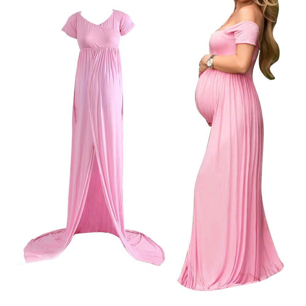 domybest Sexy embarazadas vestido para mujer largo, maternidad apagado los hombros vestido de gasa faldas para photoshoot rosa rosa: Amazon.es: Electrónica