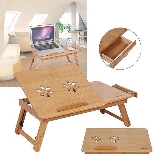 Yosoo Bandeja de Cama para Ordenador de bambú Laptop Mesa Mesa ...