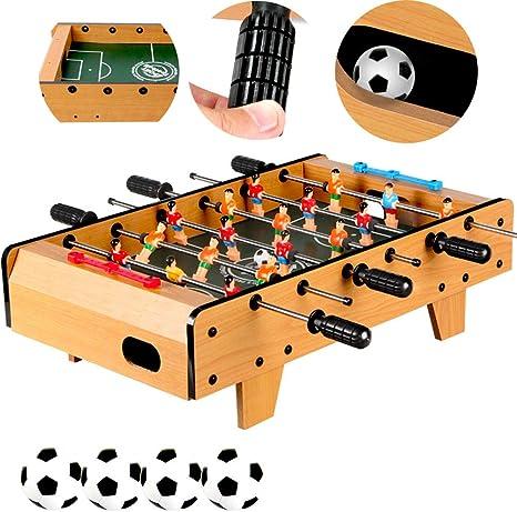 SXJC Futbolín Deluxe Portátil Bolas Mini Juego De Accesorios De Fútbol De Mesa De Futbolín para Niños Y Adultos: Amazon.es: Deportes y aire libre