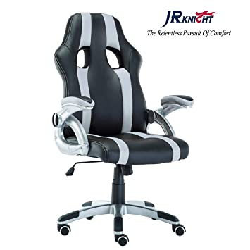 JR Knight Sporty Racer - Silla de Oficina para el hogar, Piel sintética, Silla de Escritorio, diseño Giratorio con Brazos Ajustables: Amazon.es: Hogar