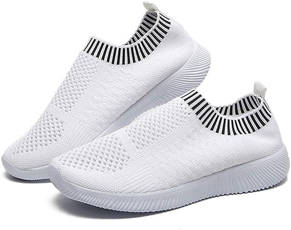 LuMon Mujer Ligero Zapatos para Caminar, Atlético Correr Zapatillas Transpirable Malla sin Cordones Zapatillas, Mujer Zapatillas Running para Caminar Correr Senderismo - Blanco, 40: Amazon.es: Hogar
