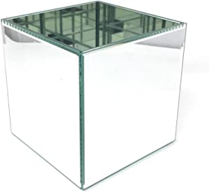 Serene Spaces Living Gatsby Beveled Mirror Vase, Clear Square Glass Mirror Vases for Wedding Decor and Events, Perfect for Restaurants, Spas and Home Decor Space, Measures 4