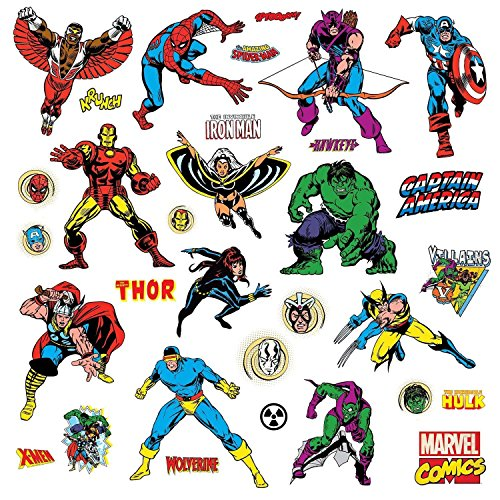 Peel Stick Wall Decals (Roommates Rmk2328Scs Marvel Character Peel And Stick Wall Decals, 31 Count)