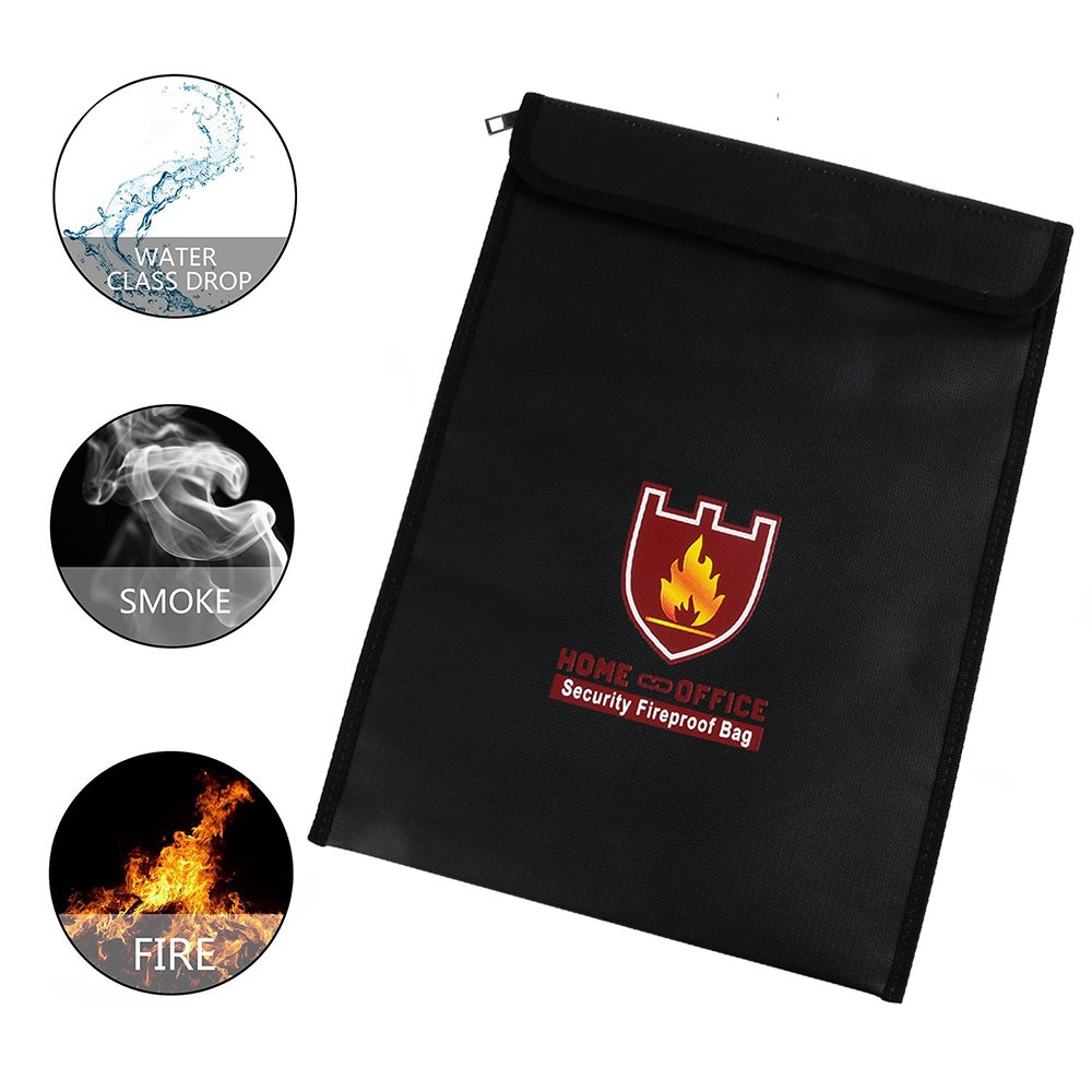 Rou-shot Fireproof Document Bag,Double Layer Fireproof and Waterproof Safe Bags, Perfect for Money, Documents, Jewelry and Passport Safes (15'' x 11'') by Rou-shot (Image #5)