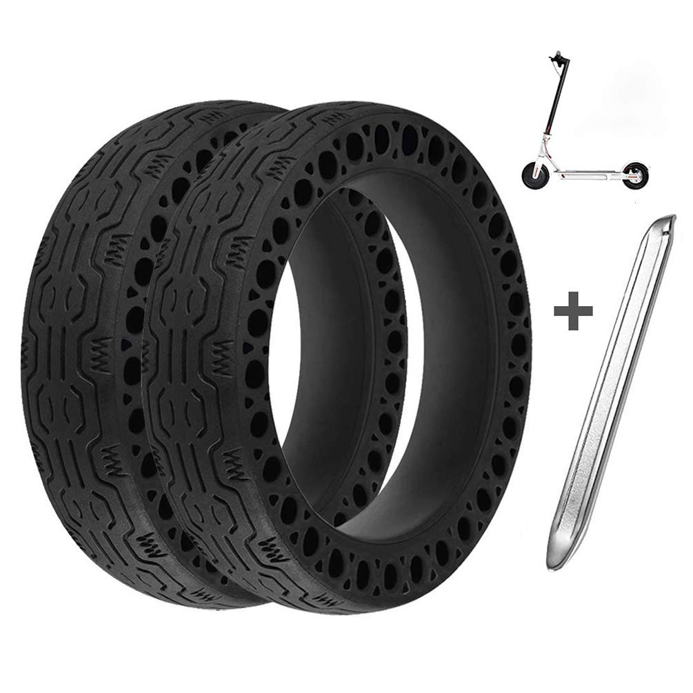 Suremita 2 Pieces Honeycomb Rubber Solid Tire for Xiaomi M365 Electric Scooter, 8.5 Inch Tire Tubeless Solid Tyre for Mijia M365 + 1 Stainless Steel Tire Levers by Suremita