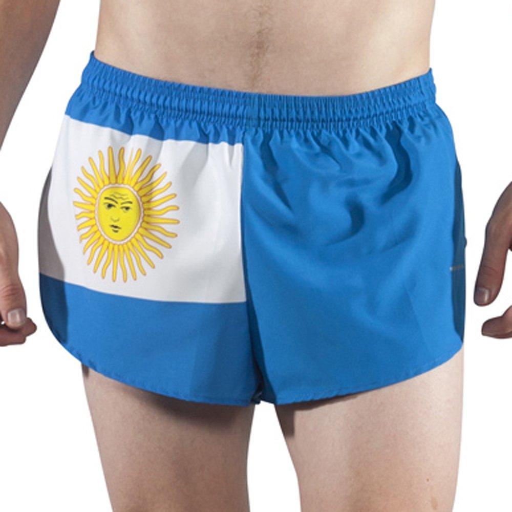 """BOA Men's 1"""" Elite Split Leg Print フラグランニングショーツ(1000CP) B01H5QH60S Small アルゼンチン(Argentina) アルゼンチン(Argentina) Small"""